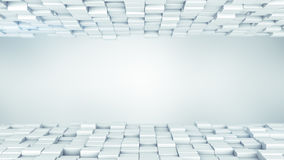White boxes abstract background 3D render Stock Images