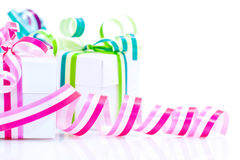 White boxes with bows Royalty Free Stock Photo