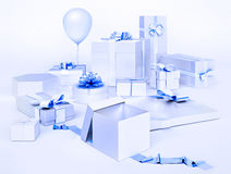 White boxes with gifts and  blue bows, balloon isolated on light. Blue background Stock Photos