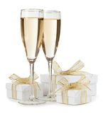 White boxes with glasses of champagne Stock Photography