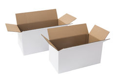 White Boxes. Industrially prefabricated boxes, primarily used for packaging goods and materials Stock Image