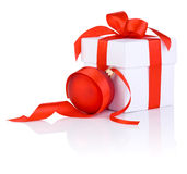 White boxs with a red ribbon and christmas ball Royalty Free Stock Image