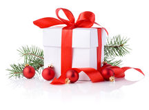 White boxs, red ribbon, tree branch and christmas ball  Stock Image