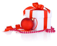 White boxs with red satin ribbon, christmas ball Royalty Free Stock Photography