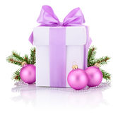 White boxs tied Pink ribbon bow, pine tree branch Royalty Free Stock Images