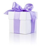 White boxs tied Purple satin ribbon bow Isolated Royalty Free Stock Photography