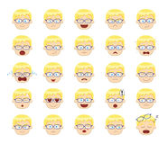 White Boy Emotion Faces Vector Illustration Stock Photography