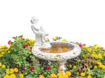White boy statue with pond Stock Photography