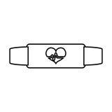 White bracelet heart cardiology icon. Image,  illustration Royalty Free Stock Images