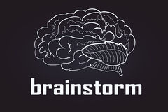 White brain sketch. And text on dark background. Brainstorm concept. 3D Rendering Stock Photo