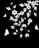 White branches on black. White branches on black with butterfly Royalty Free Stock Photography