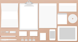 White branding mock up. Vector illustration of white stationary or branding identity mock up Royalty Free Stock Photos