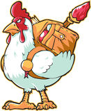 White brave hen. A white brave hen with fully loaded backpack of map and things Royalty Free Stock Images
