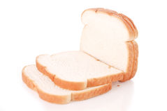 White Bread. Four White Bread Slices Falling Over royalty free stock image