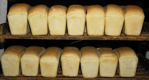 White bread. Two lines of white bread Royalty Free Stock Photo