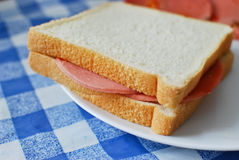 White bread bologna ham sandwich. Serve on a dish stock image