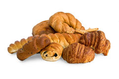 White bread and buns Royalty Free Stock Images