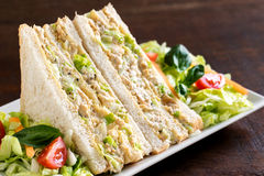 White bread chicken and mayonnaise sandwich. Stock Photography
