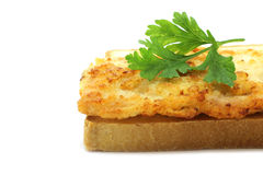 White bread with cutlet. On the white background Stock Photography
