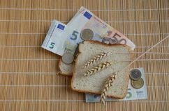 White bread, euro banknotes and wheat ears Stock Image