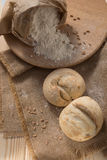 White bread and flour on the table Stock Photography