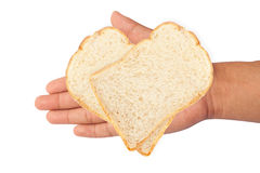 White bread on hand isolate on the white background. Stock Photography