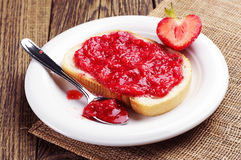 White bread with jam Stock Image