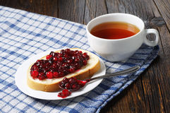White bread with jam and tea Royalty Free Stock Image