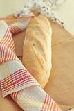 White bread loaf near the napkins Stock Photography