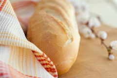 White bread loaf near the napkins Royalty Free Stock Photography