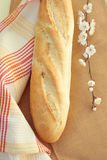 White bread loaf near the napkins Royalty Free Stock Photos
