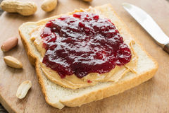 White bread with peanut butter and jam Stock Photo
