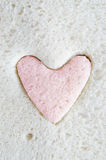 White Bread  with Pink Heart Cut Out Royalty Free Stock Photos