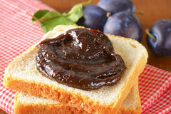 White bread with plum jam Royalty Free Stock Photography