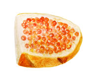 White bread and red caviar Royalty Free Stock Images