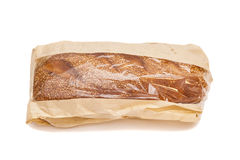 White bread with sesame in a paper bag Stock Image