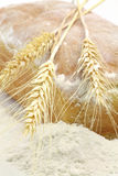 White bread and spikes of wheat and wheat flour Royalty Free Stock Photography