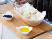 White bread and two different dressings Stock Photo