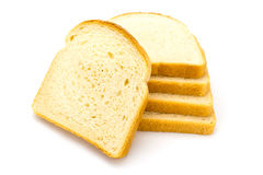 White bread on a white. Sliced white bread on a white background Stock Photos