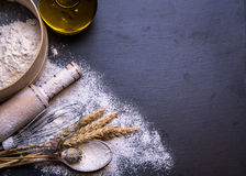 White  bread on a wooden background Stock Images