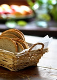 White bread in woven basket. White bread sliced in woven basket placed on table Stock Image