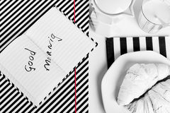 White breakfast. And background diagonal lines Royalty Free Stock Photography