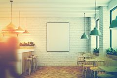 White brick cafe, bar and poster toned Royalty Free Stock Photos