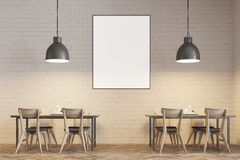 White brick cafe interior close up, poster. Modern cafe interior with wooden tables and chairs near white brick walls. Original ceiling lamps. A poster. 3d Royalty Free Stock Image