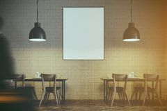 White brick cafe interior close up, poster toned. Modern cafe interior with wooden tables and chairs near white brick walls. Original ceiling lamps. A poster. 3d Stock Images
