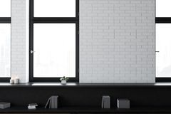 White brick empty office or living room. Interior with loft windows, black bookshelves. A foggy cityscape. 3d rendering mock up vector illustration