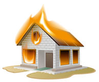 White brick house on fire. Country cottage in danger. Illustration in vector format Stock Photos