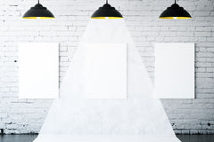White brick interior with banners Royalty Free Stock Image