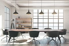 White brick meeting room. Modern white brick meeting room interior with equipment and sunlight. 3D Rendering Royalty Free Stock Image