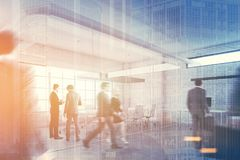 White brick office with a reception, people double Royalty Free Stock Image